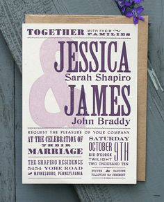 Letterpress Wedding Collection Sampler by starshapedpress on Etsy, $6.00