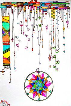 Zentangle dangles by Ellen Wolters Zentangle Drawings, Doodles Zentangles, Zentangle Patterns, Doodle Drawings, Doodle Patterns, Doodle Designs, Tangle Doodle, Tangle Art, Zen Doodle