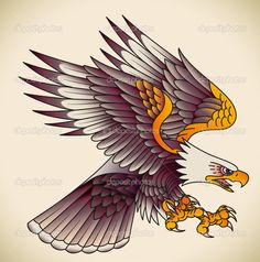 Illustration about Bald eagle attacking. Old-school tattoo design. Illustration of bald, eagle, painting - 37473792 Badass Tattoos, Life Tattoos, Hand Tattoos, Sleeve Tattoos, Cool Tattoos, Traditional Eagle Tattoo, Traditional Tattoo Design, Tattoo Old School, Old School Tattoo Designs