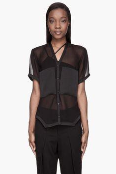 HELMUT LANG // Black sheer Plasma blouse