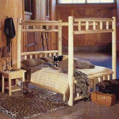 Rustic Natural Cedar Furniture Wheatfields Canopy Bed