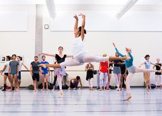 Selene Guerrero-Trujillo with Artists of the Ballet in company class. Photo by Aaron Vincent Elkaim.
