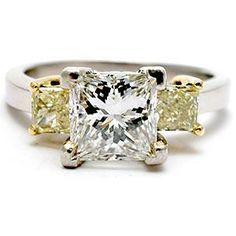 1 1/2 CARAT PRINCESS CUT DIAMOND THREE STONE ENGAGEMENT RING SOLID PLATINUM