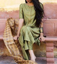 Green Silk Gota Work Salwar Kameez With Dupatta