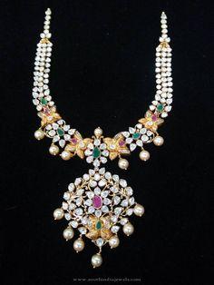 22K Gold Short Stone Necklace, 22K Gold Jewellery Designs, 22K Gold Jewellery Necklace Designs.
