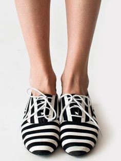 Black and white striped Oxfords!