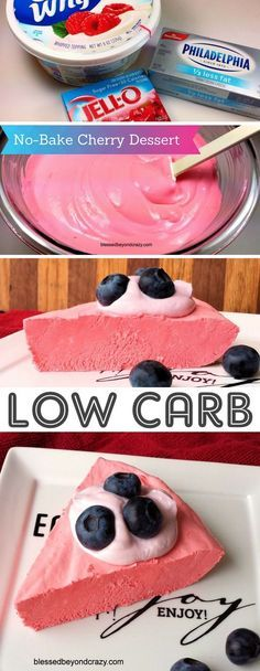 No-Bake Low Carb Cheesecake (made with sugar-free Jello) -- 10 Easy and Quick Low Carb Keto Dessert Recipes -- many with just 2 ingredients! All atkins and diabetic friendly. These sugar free treats are sure to please! Listotic.com