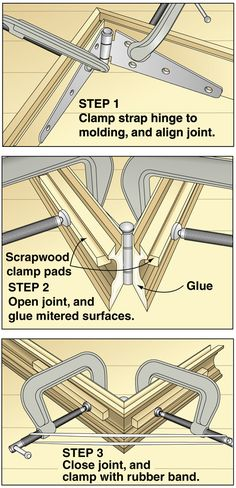 Excellent tip on gluing up frames, or boxes. Use strap hinges to hold the pieces together.