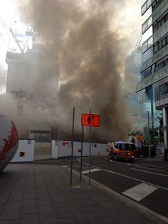 Barangaroo fire in Sydney during first 15 minutes! Wind Turbine, Sydney, Fire