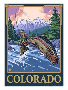 estes park fly fishing poster | Fly Fishing Scene - Colorado