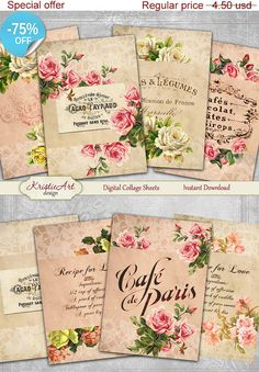 75% OFF SALE Cafes Flowers  Digital Collage by KristieArtDesign