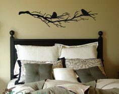 2 oiseaux sur nues Branches vinyle Home Decor  vinyle lettres