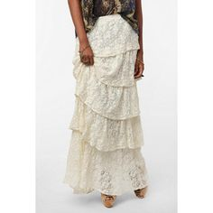 Long Ivory Skirt | shop skirts long skirts lucca couture skirts lucca couture tiered lace ...