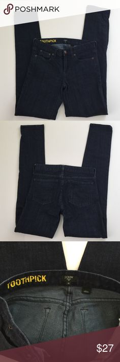 J. Crew Stretch Toothpick Skinny Jeans, size 25 J. Crew Stretch Toothpick Skinny Jeans in size 25. Rise is 7.5 and inseam is 32. Leg opening is 5.5. These are a dark blue wash jeans. Made from 98% cotton and 2% spandex. In excellent condition, worn once. Please ask if you have any questions. J. Crew Jeans Skinny