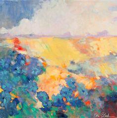 "Large Abstract Landscape Painting Blue Wildflowers Original Artwork ""August Pasture"" 30x30"" by Kerri Blackman"