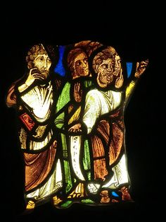 Fragments of stained glass windows dated from 1200-1300's Musee Cluny