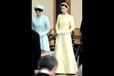 La princesse Kako, avec sa mère la princesse Kiko à Tokyo, le 14 janvier 2015