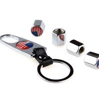Soupape Voitures Car Styling American Flag Stainless Steel 1 Set Car Wheel Airtight Tyre Tire Stem Air Valve Caps with Keychain