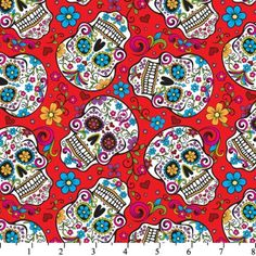 Sugar Skulls - Mexican Folklore - David Textiles - Folkloric Skulls Red- Day of the dead- By the yard- Cotton fabric - My Sugar Skulls Skull Fabric, Red Fabric, Fleece Fabric, Cotton Fabric, Fabric Material, Red Day, Dog Halloween, Skull Print, Up Girl