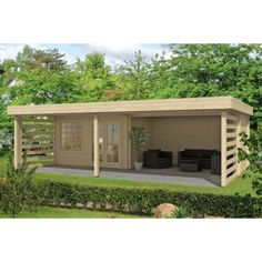 The Lilou Log Cabin had a Gazebo and recessed cabin to the front is a large canopy and slatted sides for shade. The Lilou Log Cabin has a modern pent roof. Garden Cabins, Cabin House Plans, Garden Office, Cabin Homes, Other Rooms, Play Houses, Terrace, Gazebo, Home And Garden