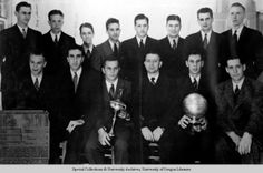 """1938-39 basketball national champions.  """"The tall firs"""" of Oregon.  First NCAA National Basketball Champions defeating Ohio State in the finals, 46-33."""