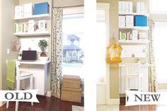 Cute curtain idea by Mini Manor Blog: Library