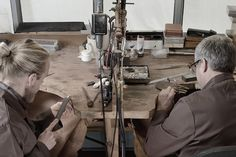 Father and Son duo, Glenn and Paul working hard at the bench! Milton Keynes, Bespoke Jewellery, Stony, Working Hard, Father And Son, Workshop, Bench, Atelier, Work Hard
