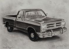 "Original 1989 Dodge Ram Pickup Truck D100 D150 D250 Charcoal Drawing 8"" x 11"" - http://art.goshoppins.com/drawings/original-1989-dodge-ram-pickup-truck-d100-d150-d250-charcoal-drawing-8-x-11/"