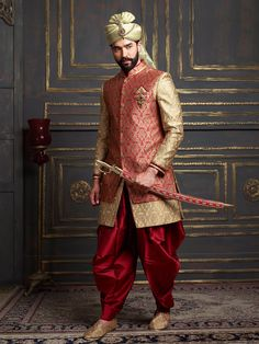 Jamawar Red And Beige Indo Western