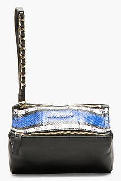 Givenchy Black & Cobalt Pandorina Leather & Snakeskin Clutch
