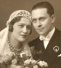+~+~ Antique Photograph ~+~+   Beautiful, serene Margit Sandor marries her sweetheart in Hungary. 1932