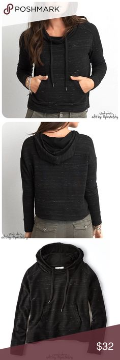 """AEO cropped pullover NEW with tags, never worn and in excellent condition. comfortable soft, cropped pullover. long, loose, neck line.  details ∙ medium ∙ 19.5"""" length ∙ 23.5"""" bust  ∙ 22"""" sleeves  materials ∙ 47% viscose ∙ 44% polyester ∙ 45% elastane  due to lighting- color of actual item may vary slightly from photos.  please don't hesitate to ask questions. happy POSHing    use offer feature to negotiate price on single item  i do not trade or take any transactions off poshmark American…"""