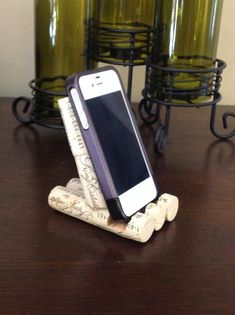 Wine cork phone holder