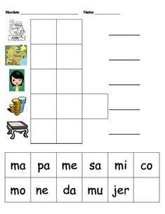 FREE - cut and paste sheet - Silabas con la M