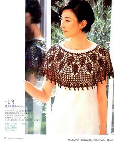 Mini-Poncho with chart Crochet Wool, Crochet Round, Crochet Scarves, Crochet Shawl, Crochet Clothes, Crochet Capas, Japanese Crochet, Ladies Poncho, Crochet Collar
