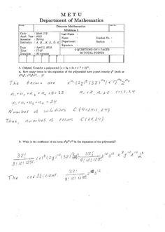 Discrete Mathematics First Midterm Exam Questions