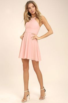 Our hearts will belong to the Forevermore Blush Pink Skater Dress 'til the end of time! Semi-sheer shoulder straps form a modified halter neckline atop a fitted bodice with princess seams. A flirty skater skirt, composed of lightweight Georgette, flares below a banded waist. Hidden back zipper/clasp.