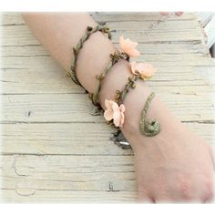 Peach Woodland Forearm, Woodland cuff, Bohemian bracelet, Floral... ($20) ❤ liked on Polyvore featuring jewelry, bracelets, cuff bangle, flower bracelet, wrap around bracelet, floral cuff bracelet ve bracelet bangle