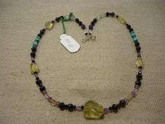 "Natural Multi Stone Multi Shape Faceted 17"" Beads Fancy Necklace, 101.5 Cts…"