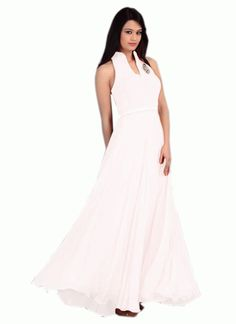Colour White Fabric Georgette, Velvet Inner Fabric Santoon Occasion Party, Ceremonial Size Medium Type Gown