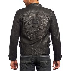 Find More Leather & Suede Information about Free Shipping 2015 New Men Leather Jacket Black Back The Skull Short 100% Genuine Cow Skin Leather Men Winter Motorcycle Coat,High Quality jacket clasps,China coat spring Suppliers, Cheap jacket face from ShowGirl Fashion on Aliexpress.com