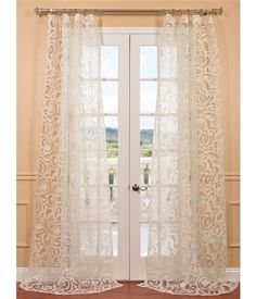 Get Margo Ivory Patterned Sheer Curtains & Drapes