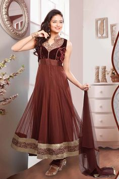Brown Net Readymade Suit
