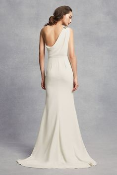 db799461f3bc One-Shoulder Sheath Wedding Dress with Crystals Detail from the WHITE by Vera  Wang wedding dress collection available at David's Bridal