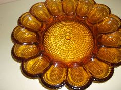 Amber Glass Egg Tray   Vintage Glassware by ChixCoopAntiques, $18.00