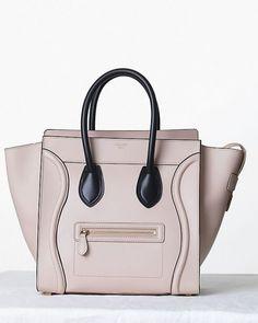 a3e59c22d6 Celine Satin Powder with Black Handles Mini Luggage Bag