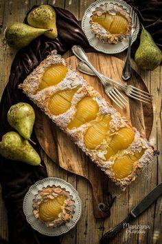 Bourdaloue tart: pear tart and almond cream Jello Recipes, Dessert Recipes, Cake Recipes, Pastry Recipes, Baking Recipes, Vegetarian Recipes Hearty, Pear Tart, Elegant Desserts, Cooking Time