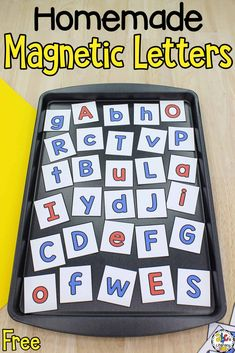 Have you ever wondered How To Make Magnetic Letters? It's very easy and inexpensive! With just a few supplies, you can have a fun manipulative in minutes that your kids can use when learning the abc's, sight words, CVC words, and more!  Use the letters in literacy centers, small groups, or for early finishers. Click on the picture to learn how to make magnetic letters and get the free printable letter cards! #magneticletters #letterrecognition #alphabetactivity #letteractivity #learningtheabcs