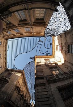 Clever And Imaginative Sketches Drawn In The Sky In-Between Buildings