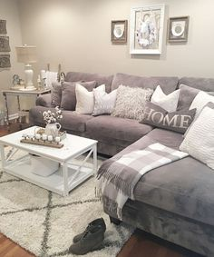 Gray and white. Very pretty living area. #affiliatelink